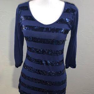 Tops - 3/4 sleeve Navy blue sequined Blouse